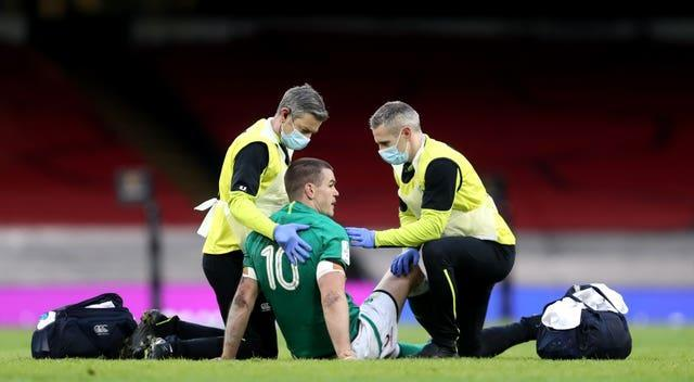 Ireland's Johnny Sexton suffered a head injury against Wales