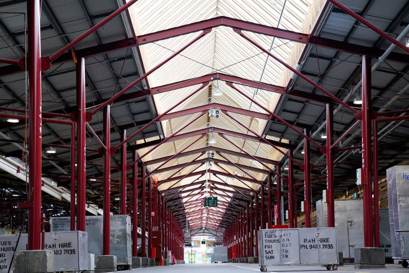 An empty Queen Victoria Market is seen on the first day of a seven-day COVID-19 lockdown in Melbourne