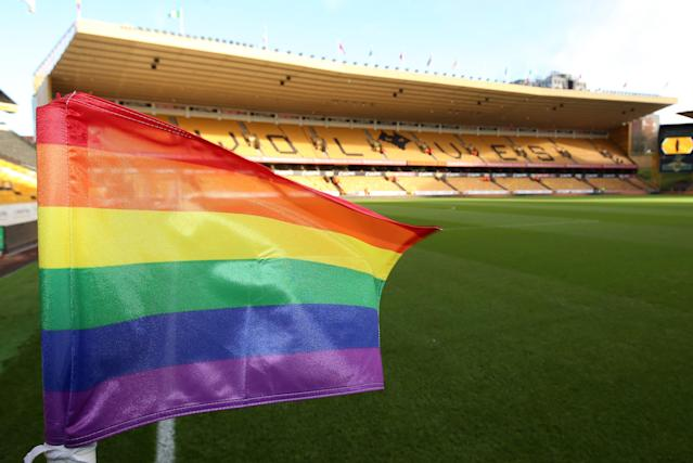 Rainbow flags and other rainbow themes have been displayed in the Premier League and England's lower leagues this month. (Getty)
