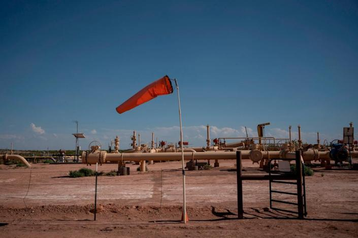 Equipment at a fracking well in Culberson County, Texas. For oil and gas producers in the world's largest oil field, straddling the border between Texas and New Mexico, the losses due to the collapse of oil prices are colossal.
