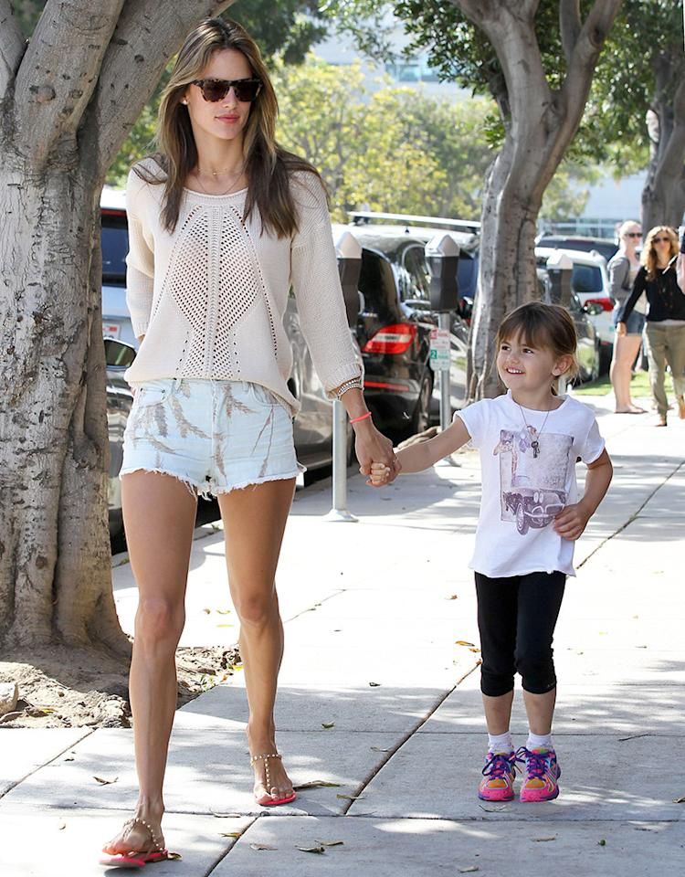Also that day, model Alessandra Ambrosio took her little beauty, 4-year-old Anja, for a stroll on the way to school in Santa Monica, California. (5/14/2013)