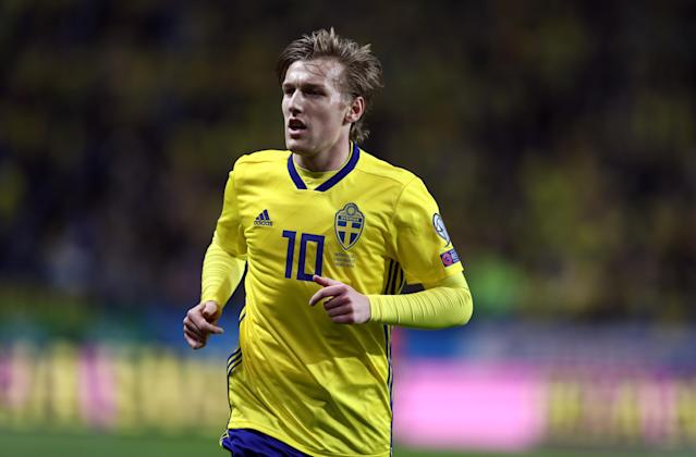Emil Forsberg will be Sweden's attacking centerpiece at the 2018 World Cup now that Zlatan Ibrahimovic is retired. (Getty)