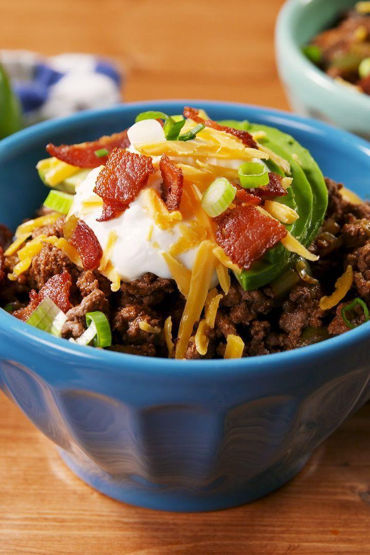 """<p>This isn't your classic chilli. There are a few ingredients (tomatoes, beans) that aren't so keto-friendly, and we chose to leave out. Don't let that stop you, though! Every diet is different, and if you feel like switching up or adding more ingredients, do you!</p><p>Get the <a href=""""https://www.delish.com/uk/cooking/recipes/a30291769/keto-chili-recipe/"""" rel=""""nofollow noopener"""" target=""""_blank"""" data-ylk=""""slk:Keto Chilli"""" class=""""link rapid-noclick-resp"""">Keto Chilli</a> recipe.</p>"""