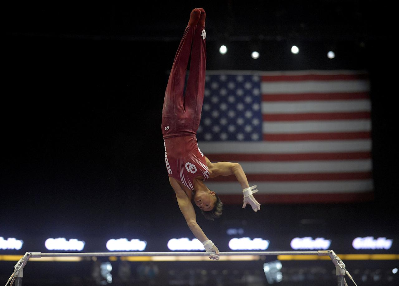 August 19, 2017; Anaheim, CA, USA; Yul Muldauer competes on the high bar during the 2017 P&G Gymnastics Championships at Honda Center. Mandatory Credit: Gary A. Vasquez-USA TODAY Sports     TPX IMAGES OF THE DAY