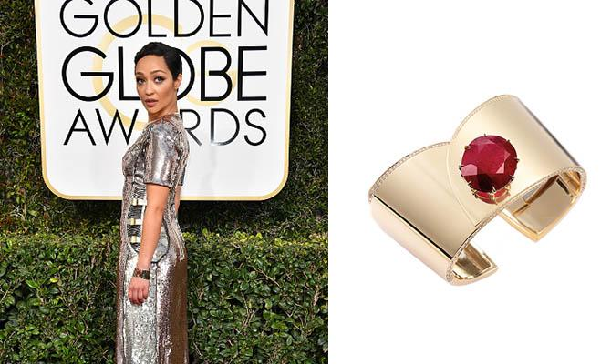 Ruth Negga in a cuff by Fred Leighton with a Gemfields rubyPhoto by Steve Granitz/WireImage; Jewels courtesy