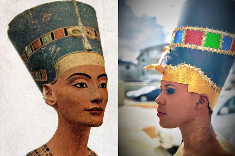 Staci Child re-created Queen Nefertiti's signature look, and people on Instagram loved it. (Photos: Getty Images/Tiffany Bangs)
