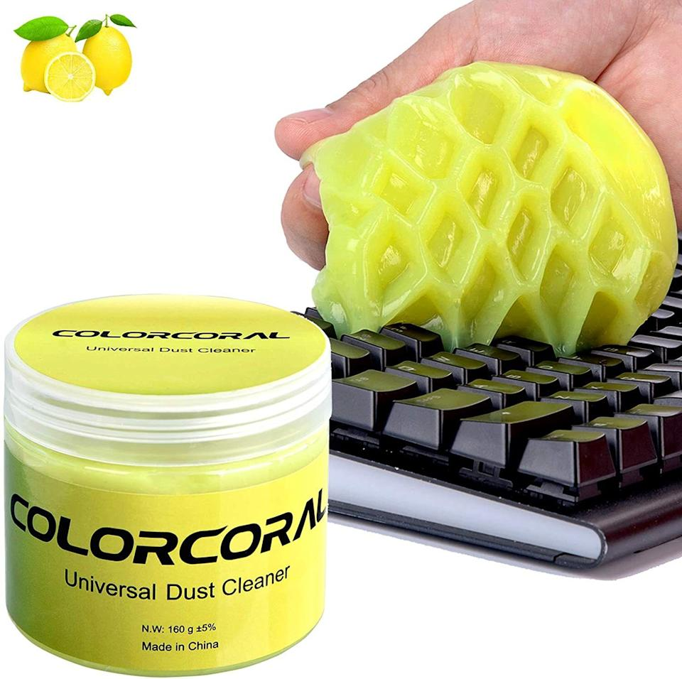 """Say goodbye to that annoying crumb that's stuck between your R and T keys. Smushing this lemon-scented slime on your keyboard is weirdly soothing, and the end result is dust-free keys.<br /><br /><strong>Promising review:</strong>""""I was skeptical at first. I was afraid my keyboard would be all gummed up with yellow slime! What happened was the opposite.<strong>It cleaned it as good as new. Got all those dog hairs between the keys! No smell lingering on keyboard or my hands. No sign I even used it except a clean keyboard.</strong>Kind of fun to play with too; you can squeeze it between your fingers!"""" --<a href=""""https://amzn.to/3eqCo5i"""" target=""""_blank"""" rel=""""noopener noreferrer"""">ZZZZZZ</a><br /><br /><strong>Get it from Amazon for <a href=""""https://amzn.to/3trroJ5"""" target=""""_blank"""" rel=""""noopener noreferrer"""">$5.94</a>.</strong>"""
