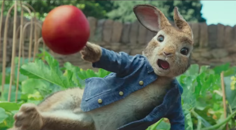 The scene causing outrage sees Peter Rabbit throw berries at the farmer. Photo: Youtube