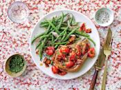 """<p><strong>Recipe: </strong><a href=""""https://www.southernliving.com/recipes/pork-chops-tomato-bacon-gravy-recipe"""" rel=""""nofollow noopener"""" target=""""_blank"""" data-ylk=""""slk:Pork Chops with Tomato-Bacon Gravy"""" class=""""link rapid-noclick-resp""""><strong>Pork Chops with Tomato-Bacon Gravy</strong></a></p> <p>This so-easy recipe will remind you why you love pork chops.</p>"""