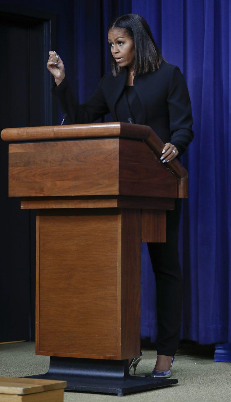 First Lady Michelle Obama addresses the crowd at the White House screening of