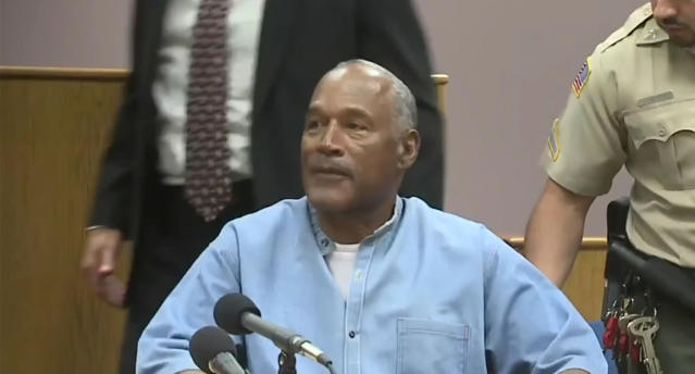 <p>Screen grab of O.J. Simpson after he is granted parole at his hearing at the Lovelock Correctional Center in Lovelock, Nev., on Thursday, July 20, 2017. (Yahoo News video) </p>