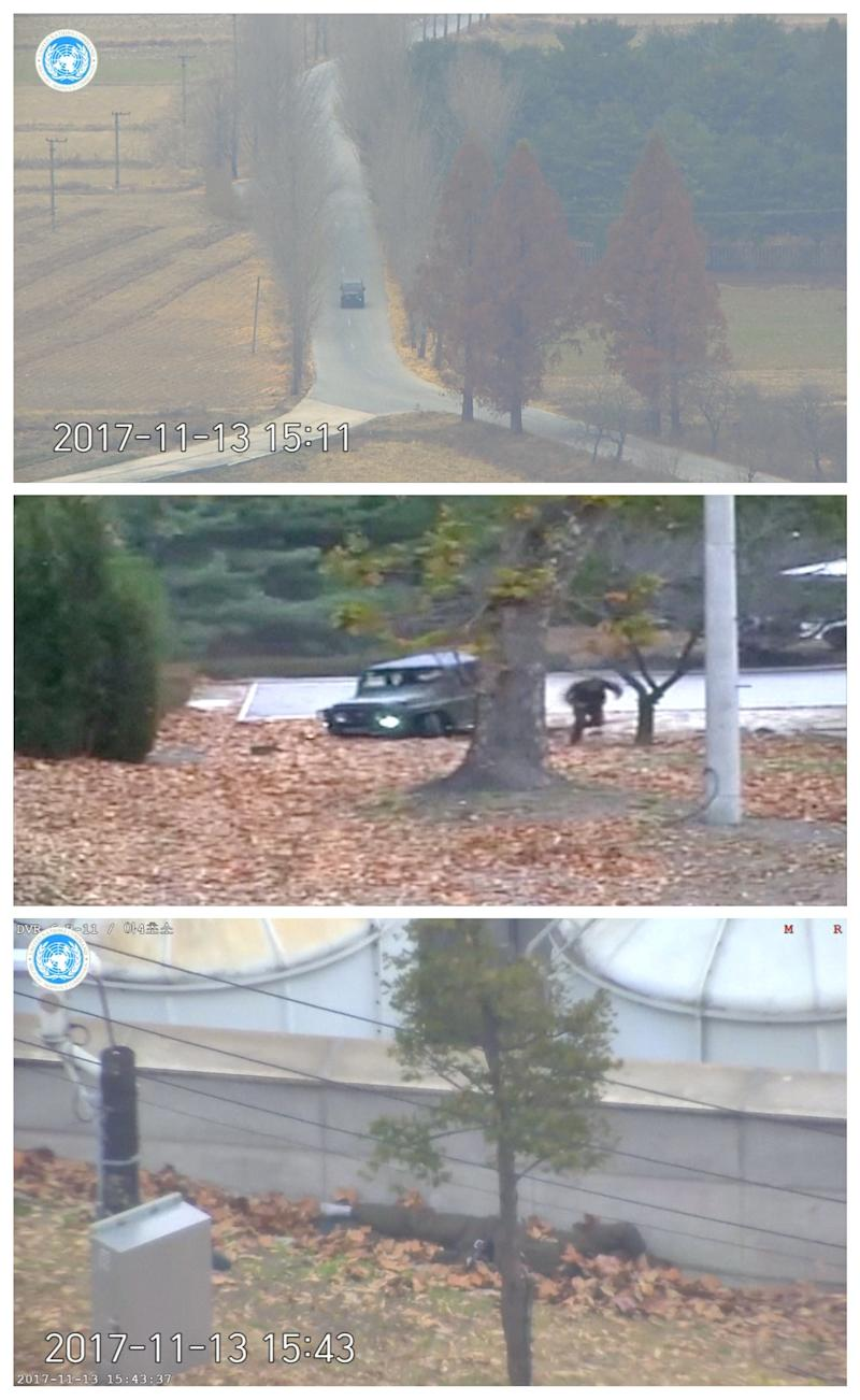 The North Korean soldier is seen driving a military vehicle towards the southern border (top) before abandoning his vehicle (center) and making a run for it and getting shot (bottom). (Handout . / Reuters)