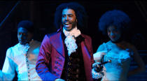 """In this image released by Disney Plus, Daveed Diggs portrays Thomas Jefferson in a filmed version of the original Broadway production of """"Hamilton."""" (Disney Plus via AP)"""