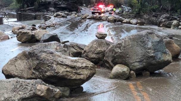 PHOTO: Mud and debris flow on the roadway due to heavy rain in Montecito. Calif., Jan. 9, 2018. (Mike Eliason/Santa Barbara County Fire Department via AP)