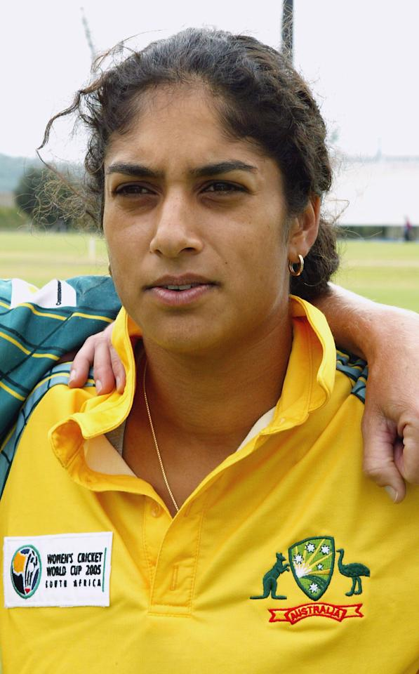 PRETORIA, SOUTH AFRICA - MARCH 22:  (TOUCHLINE IMAGES ARE AVAILABLE TO CLIENTS IN THE UK, USA AND AUSTRALIA ONLY) A portrait of Lisa Sthalekar of Australia before the IWCC World Cup Match between England and Australia at the Technikon Oval on March 22, 2005 in Pretoria, South Africa. (Photo by Touchline Photo/Getty Images)