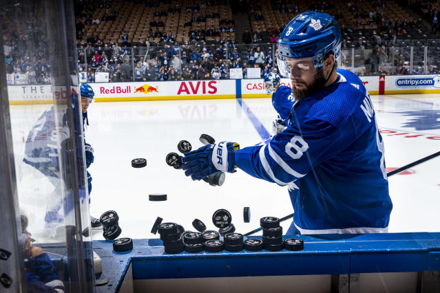 TORONTO, ON - FEBRUARY 22: Jake Muzzin #8 of the Toronto Maple Leafs warms up before the facing the Carolina Hurricanes at the Scotiabank Arena on February 22, 2020 in Toronto, Ontario, Canada. (Photo by Kevin Sousa/NHLI via Getty Images)