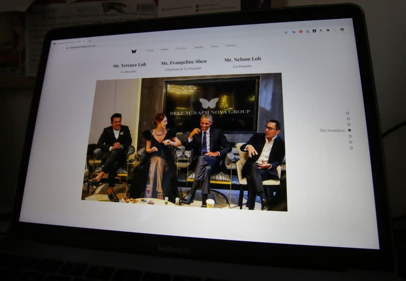 A photo on the website of Bellagraph Nova Group showing owners sitting next to former U.S. president Barack Obama is pictured in Singapore