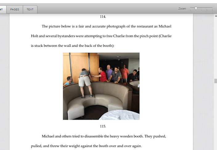 Family members and strangers try to rescue Charlie Holt when Charlie Holt's head is pinched between the wall and furniture, as included in the proceedings.