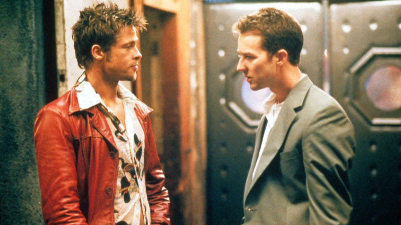 Brad Pitt and Edward Norton in 'Fight Club'. (Credit: 20th Century Fox)