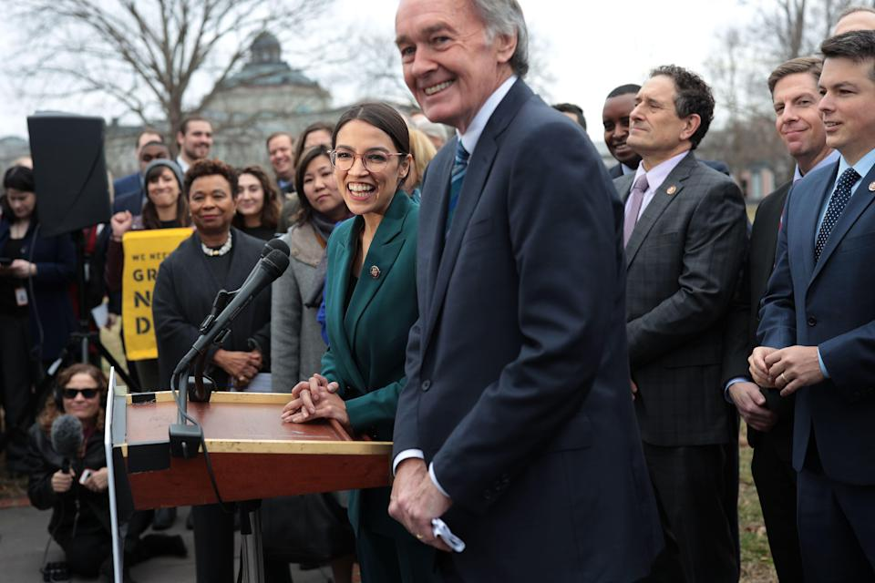 WASHINGTON, DC - FEBRUARY 07:  U.S. Rep. Alexandria Ocasio-Cortez (D-NY), Sen. Ed Markey (D-MA) and other Congressional Democrats listen during a news conference in front of the U.S. Capitol February 7, 2019 in Washington, DC. Sen. Markey and Rep. Ocasio-Cortez held a news conference to unveil their Green New Deal resolution. (Photo by Alex Wong/Getty Images)