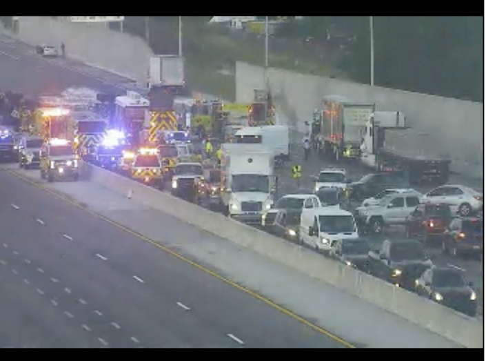 An overturned fuel tanker with a fuel spill has shut down a section of Florida's Turnpike in both directions near Bird Road during Friday's morning rush hour.