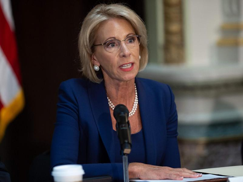 Betsy DeVos speaking in 2018 during a meeting of the Federal Commission on School Safety: (AFP)