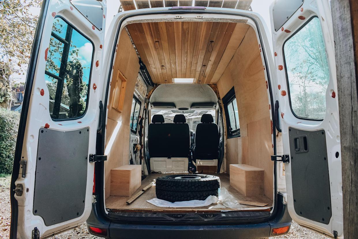 The van needed some work to transform it into a motorhome. (@thecampercreative)