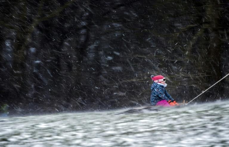 Children have taken to their sledges in the Netherlands