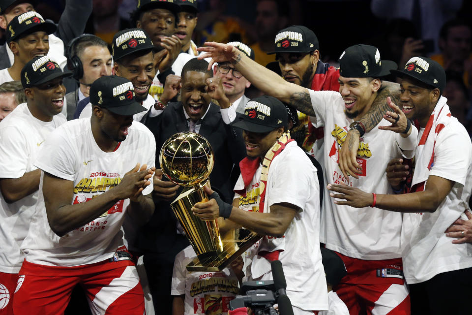The Toronto Raptors secured their first NBA championship Thursday, topping a beaten and battered Golden State Warriors team in Game 6 of the NBA Finals. (Getty)