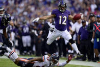 <p>Wide Receiver Michael Campanaro #12 of the Baltimore Ravens returns a punt for a touchdown in the fourth quarter against the Chicago Bears at M&T Bank Stadium on October 15, 2017 in Baltimore, Maryland. (Photo by Patrick McDermott/Getty Images) </p>