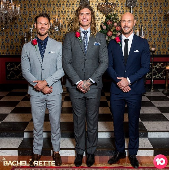 A photo of Carlin Sterritt with his fellow Top 3 bachelors Timm Hanly and Ryan Anderson on The Bachelorette Australia.