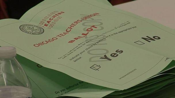 PHOTO: A strike authorization ballot is collected by the Chicago Teachers Union, Sept. 26, 2019. (WLS)