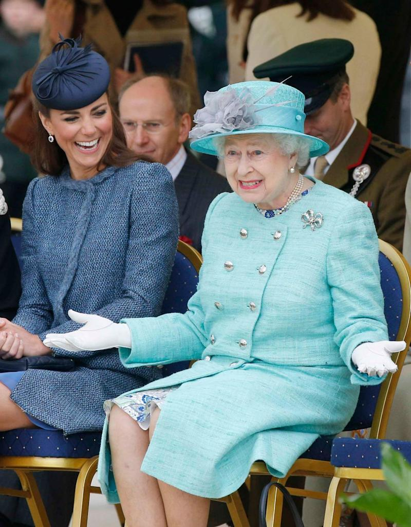 Despite being known for her class, it turns out the Queen (pictured with Kate Middleton in 2012) has been called out for flatulence. Source: Getty