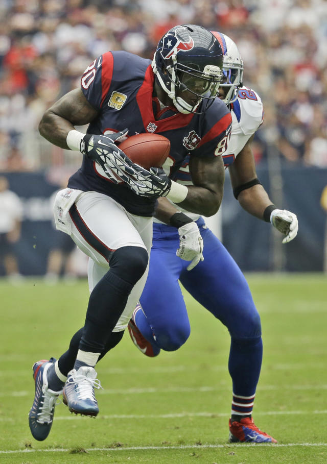 Houston Texans wide receiver Andre Johnson (80) tucks the ball after making a catch in front of Buffalo Bills' Aaron Williams in the third quarter of an NFL football game on Sunday, Nov. 4, 2012, in Houston. (AP Photo/David J. Phillip)