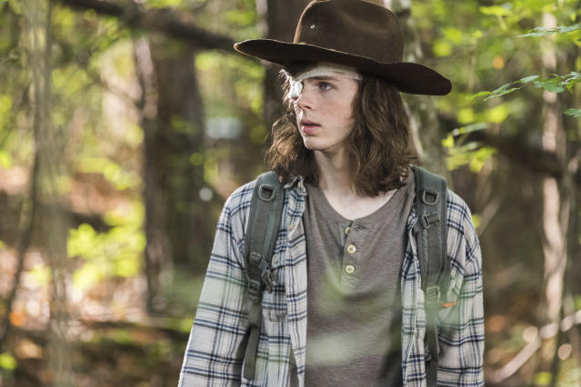 <p>Chandler Riggs as Carl Grimes in AMC's <i>The Walking Dead.<br> (Photo: Jackson Lee Davis/AMC)</i> </p>