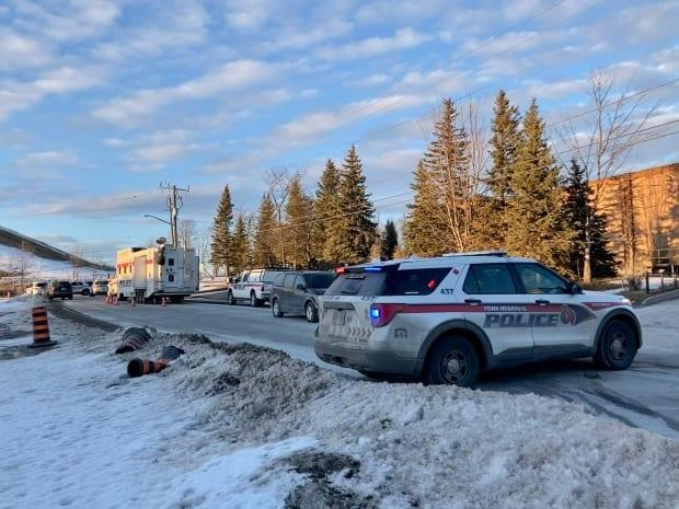 York Regional Police say they were called to the area ofTeston Road at Rodinea Road on Thursday at around 8 a.m. after a body was discovered. (Mehrdad Nazarahari/CBC - image credit)
