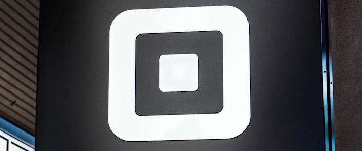 Close up of Square sign at their headquarters in SoMa district