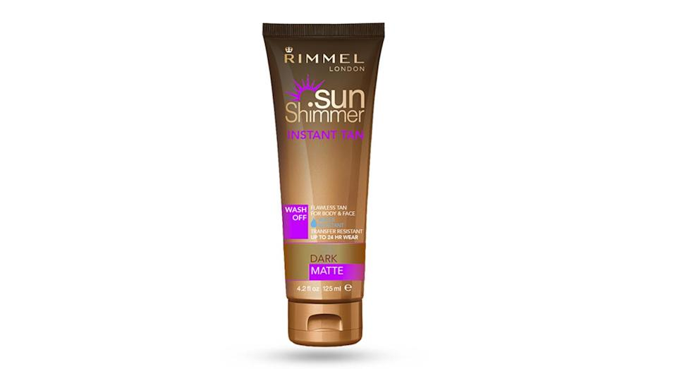<p>Wash-off tans have improved too. They provide a temporary glow for a special occasion and can be easily reversed if you've overdone it. This Rimmel SunShimmer Tan is water-resistant but will wash off with soap and warm water. Genius. </p>