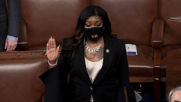 PHOTO: Rep. Cori Bush is sworn in on the House Floor at the U.S. Capitol in Washington, D.C., on Jan. 3, 2021, during the first day of the 117th session of the House of Representatives. (Greg Nash/The Hill)