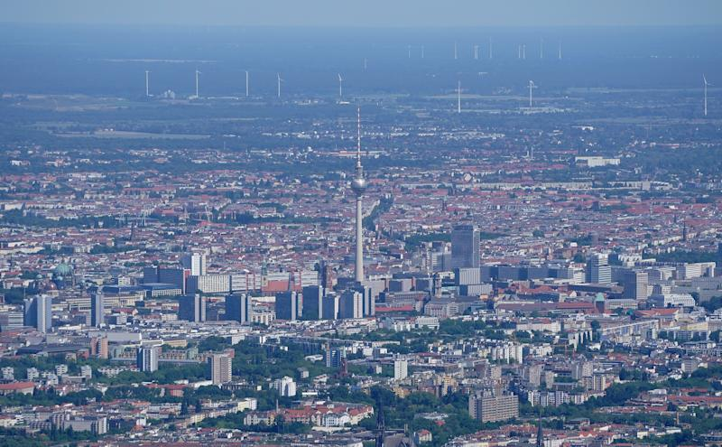 BERLIN, GERMANY - JUNE 1: In this aerial view the broadcast tower at Alexanderplatz looms over the city center on June 1, 2020 in Berlin, Germany. Real estate and housing prices have continued to climb in Berlin despite coronavirus pandemic. (Photo by Sean Gallup/Getty Images)