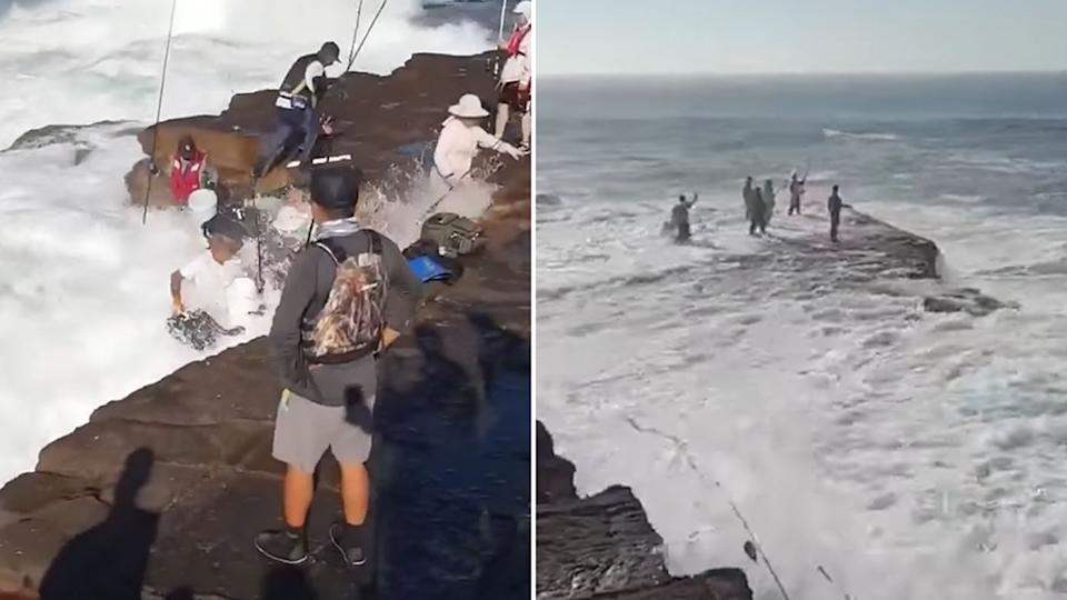 People are seen rushing from the rocks as the wave hits, one man was rescued from the surf, the ABC reported. Source: