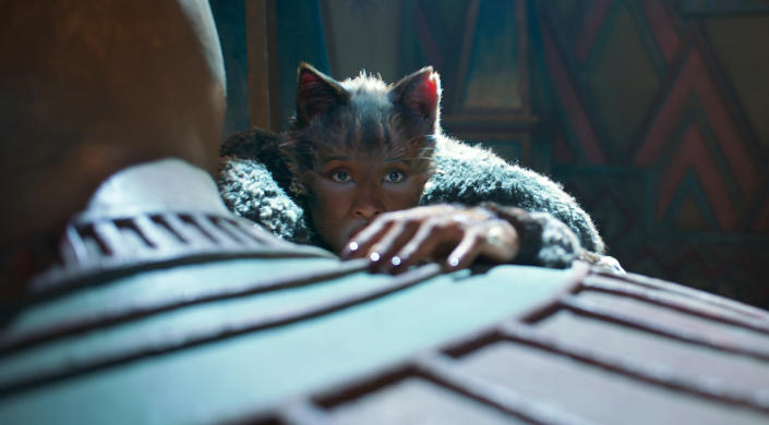"""This image released by Universal Pictures shows Jennifer Hudson as Grizabella in a scene from """"Cats."""" (Universal Pictures via AP)"""