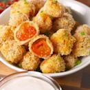 """<p>Pop as many of these juicy babies into your mouth as you want — they're baked! </p><p>Get the <a href=""""https://www.delish.com/uk/cooking/recipes/a35262268/oven-fried-cherry-tomatoes-recipe/"""" rel=""""nofollow noopener"""" target=""""_blank"""" data-ylk=""""slk:Oven-Fried Cherry Tomatoes"""" class=""""link rapid-noclick-resp"""">Oven-Fried Cherry Tomatoes</a> recipe.</p>"""