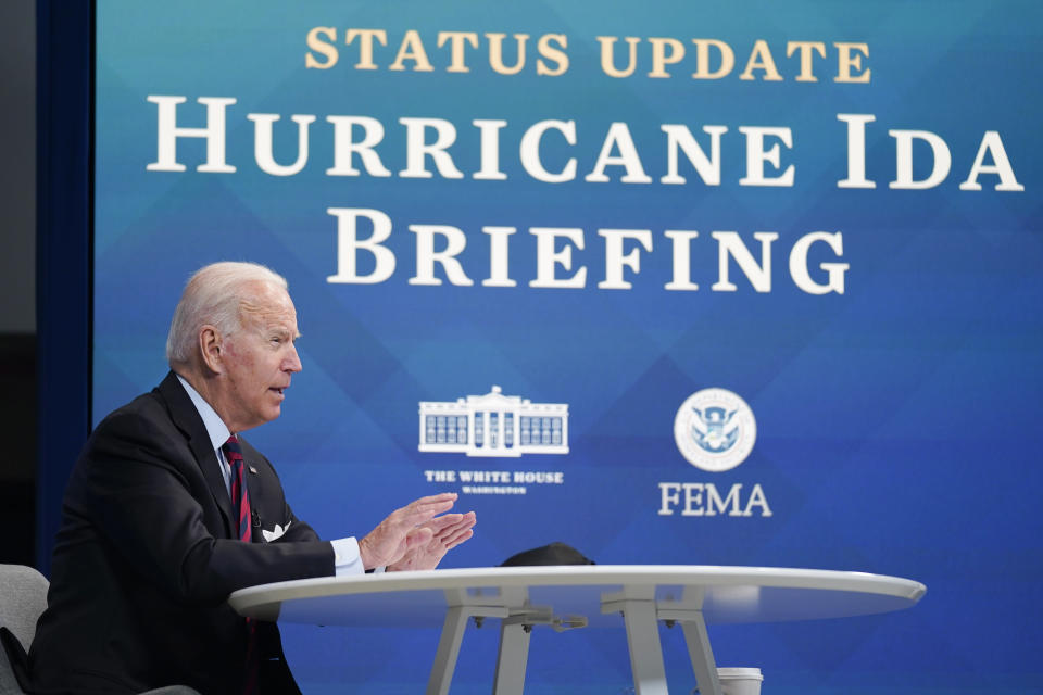 President Joe Biden speaks during a virtual meeting with FEMA Administrator Deanne Criswell and governors and mayors of areas impacted by Hurricane Ida, in the South Court Auditorium on the White House campus, Monday, Aug. 30, 2021, in Washington. (AP Photo/Evan Vucci)