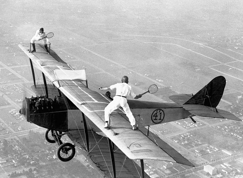 <p>On October 25, 1925, two daredevils, Gladys Rox and Ivan Unger played a game of tennis atop a plane, 3,000 feet in the air. </p>