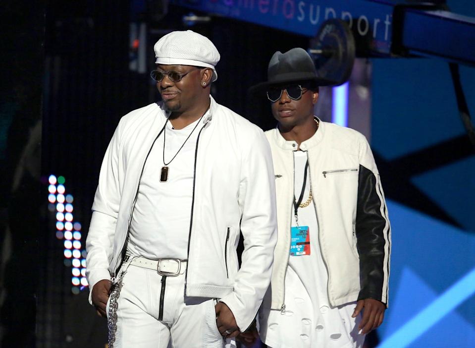 Bobby Brown, left, and his son Bobby Brown Jr. appear at the BET Awards in Los Angeles on June 26, 2016. An autopsy report says that Brown Jr. died from the combined effects of alcohol, cocaine and the opioid fentanyl. The 28-year-old was found dead in his Los Angeles home in November 2020.
