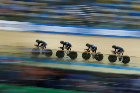 Cycling - UCI Track World Championships - Men's Team Pursuit - Qualifying - Hong Kong, China - 12/4/17 - Team New Zealand in action. REUTERS/Bobby Yip