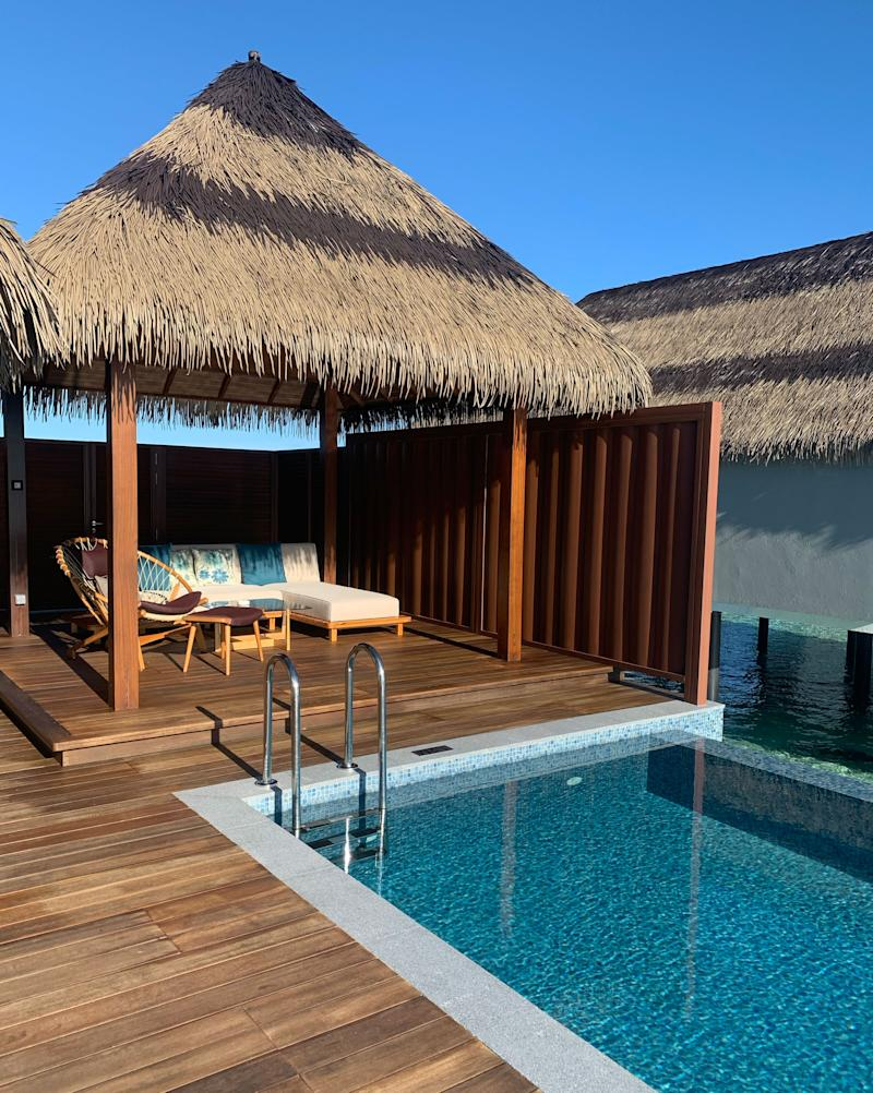 The outside of an overwater villa in the Maldives