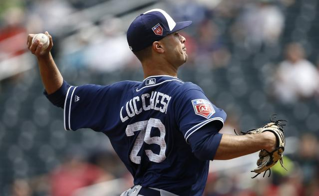 "<a class=""link rapid-noclick-resp"" href=""/mlb/teams/sdg"" data-ylk=""slk:San Diego Padres"">San Diego Padres</a> pitcher Joey Lucchesi had a terrific spring, earning an early look in the big leagues. (AP Photo/Ross D. Franklin)"