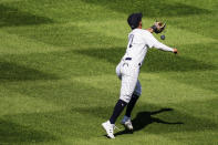 New York Yankees second baseman Thairo Estrada misses a ball that dropped for an RBI single by Baltimore Orioles' Ryan Mountcastle in the sixth inning of a baseball game, Saturday, Sept. 12, 2020, in New York. (AP Photo/John Minchillo)